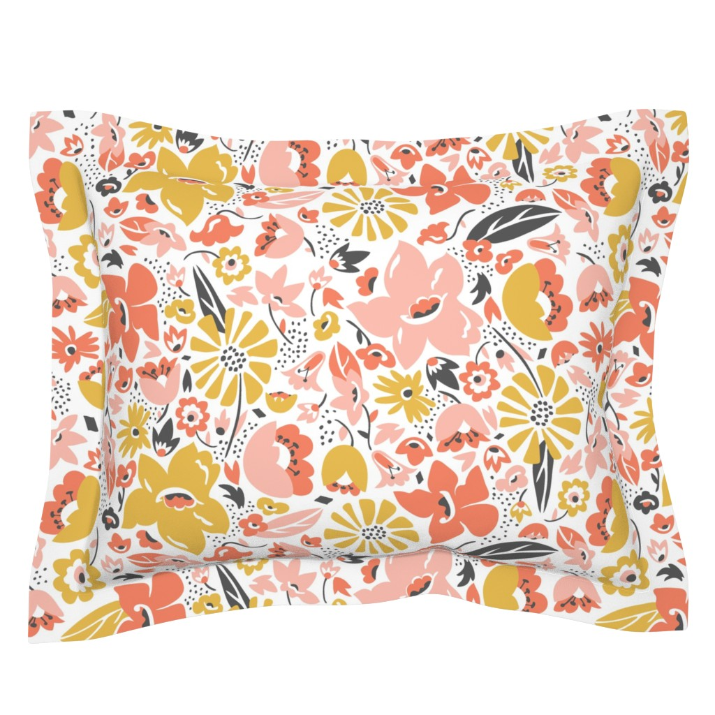 Sebright Pillow Sham featuring Betty - Floral Pink Blush Large Scale by heatherdutton