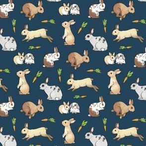 Rabbits on navy