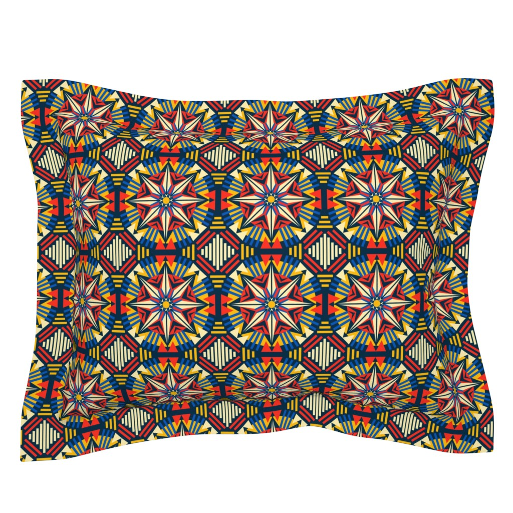 Sebright Pillow Sham featuring African Geo #1 by lapetitelecour