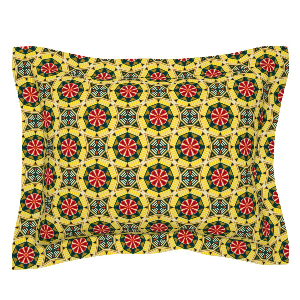 Sebright Pillow Sham featuring African Geo #2 by lapetitelecour