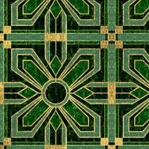 Art Deco Floral Tiles in Green