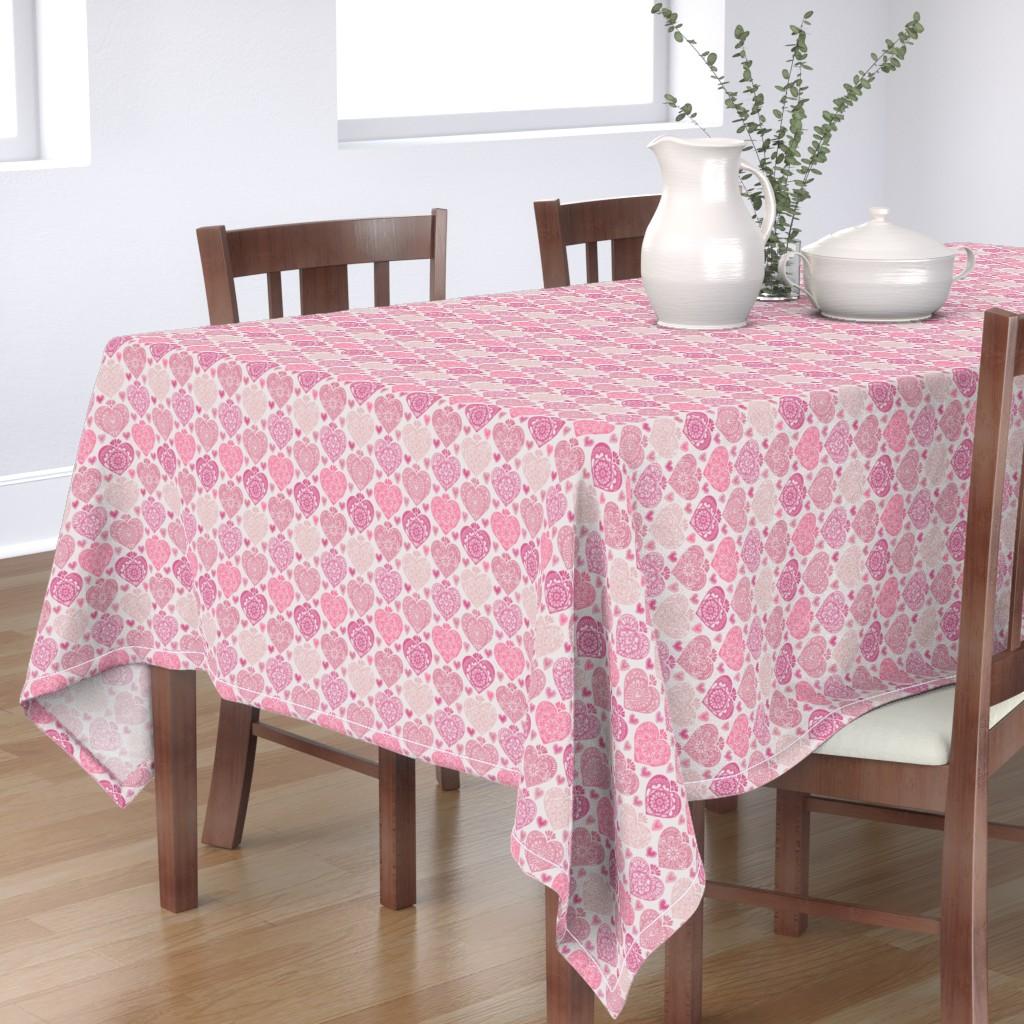 Bantam Rectangular Tablecloth featuring Valentine Heart Doilies by leiah