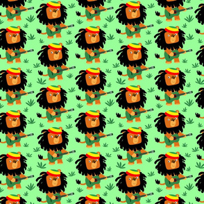 Light Green Cute Cartoon Rastafarian Lion by Cheerful Madness!!