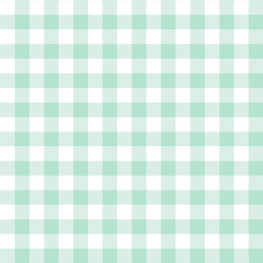 buffalo plaid 1in mint green and white