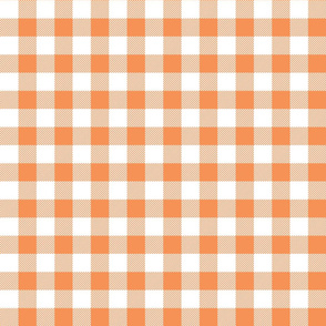 buffalo plaid 1in tangerine and white