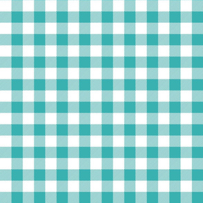 buffalo plaid 1in teal and white