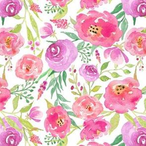 Fresh Florals - Bright Watercolor Pink Lavender Purple Flower Garden Blooms Baby Girl Nursery GingerLous B