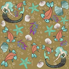 Seaside mermaid and friends
