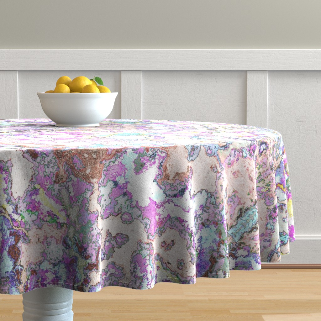 Malay Round Tablecloth featuring HydraSulphuryEdge by colortherapeutics