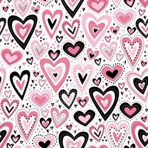 Lovely Hearts (Pink and White)