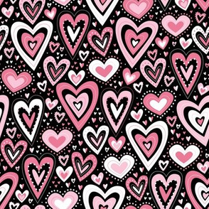 Lovely Hearts (Pink and Black)
