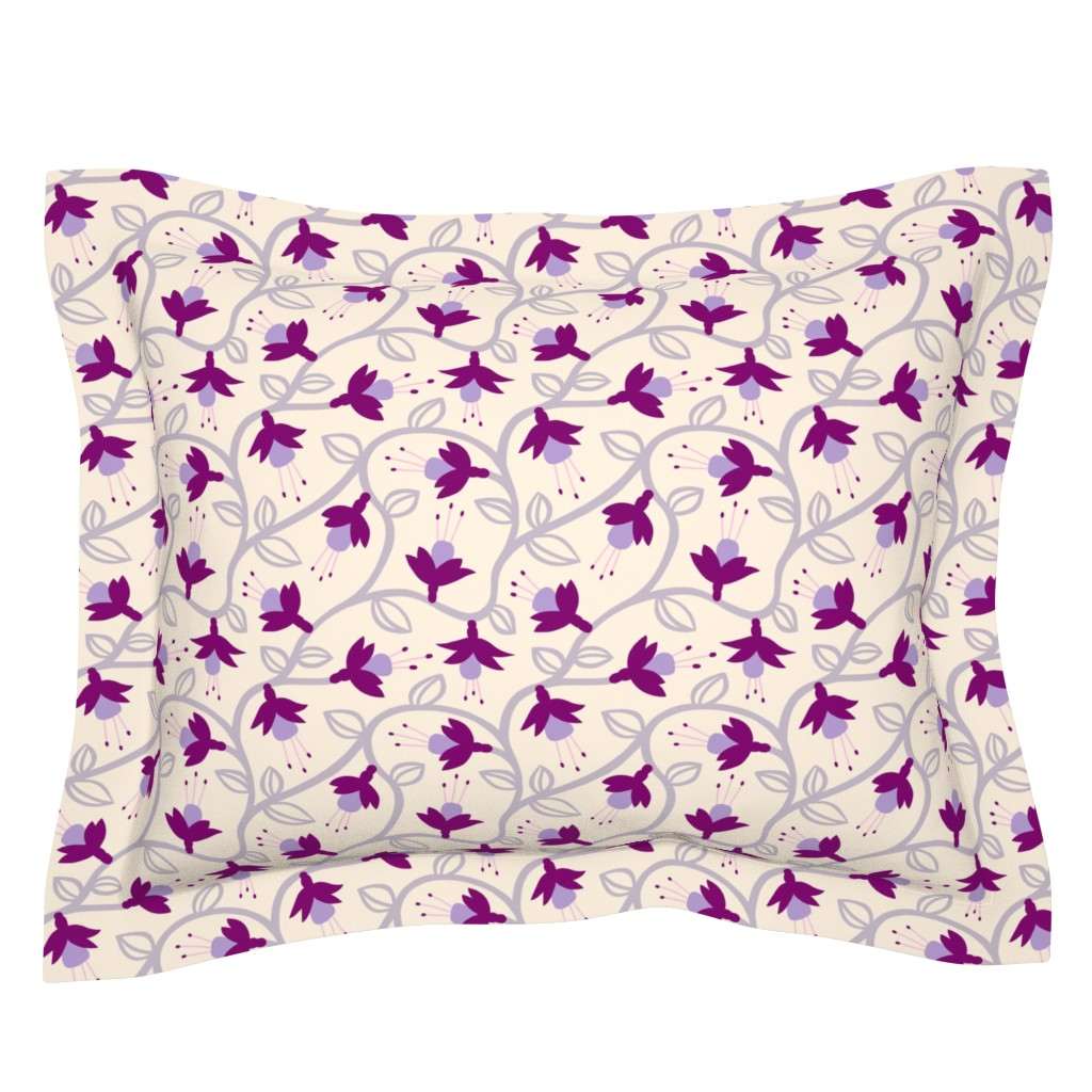 Sebright Pillow Sham featuring Fuchsias in Pink by thewellingtonboot
