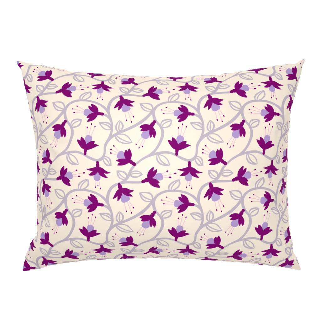 Campine Pillow Sham featuring Fuchsias in Pink by thewellingtonboot