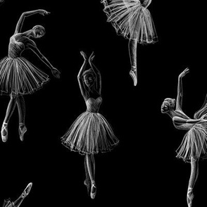 Ballerinas drawing on black (big scale)