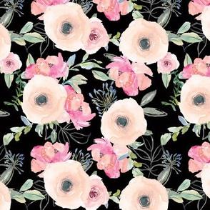 """6"""" Pink Delight Florals // Black"""
