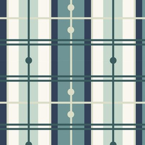 Mermaid Plaid -  H White, Navy