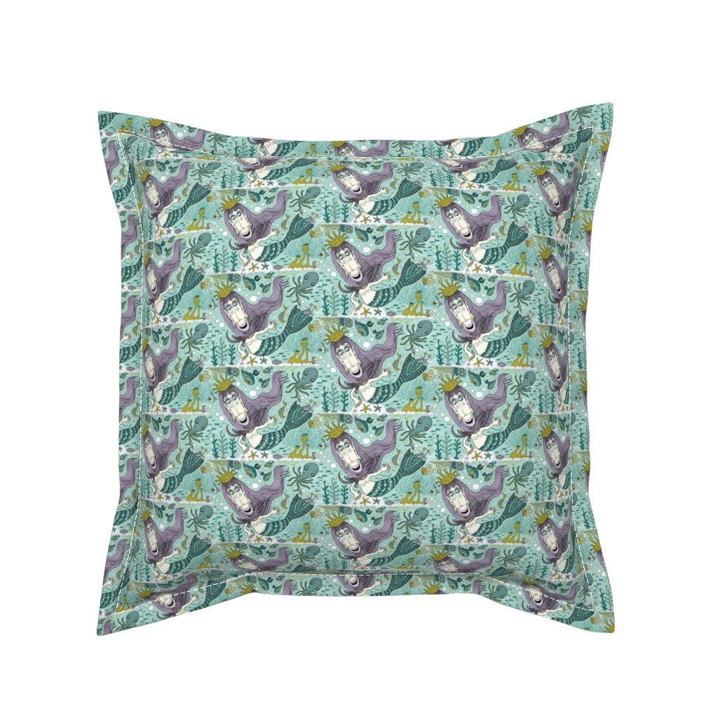 Serama Throw Pillow featuring quirky mermaid with sea friends, small scale, mint green lavender orchid chartreuse yellow lime emerald by amy_g