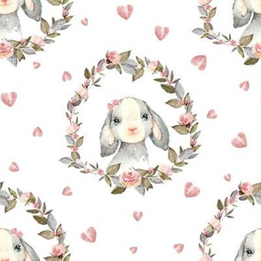 """8"""" Pink Bunny with Bow and Hearts"""