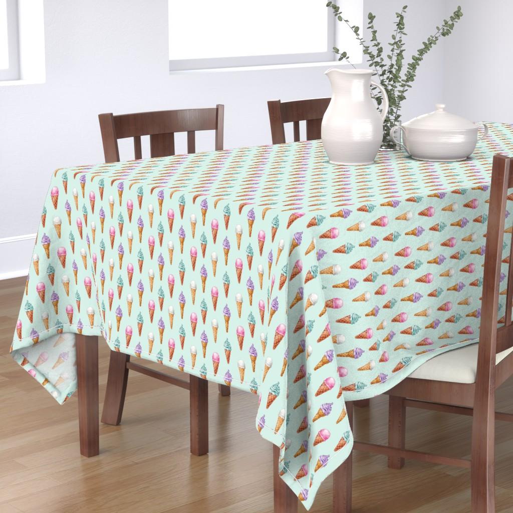 Bantam Rectangular Tablecloth featuring Vintage Ice Cream Cones // Mint by hipkiddesigns