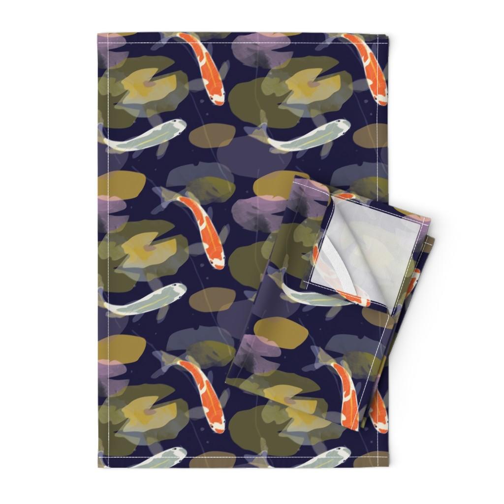 Orpington Tea Towels featuring Koi Carp fabric by mountvicandme