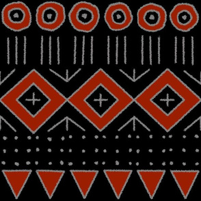mudcloth 2, black, red and gray