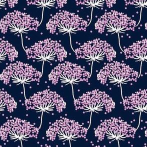 Yarrow Navy - Modern Floral - Purple Floral - Wildflower pattern-ch