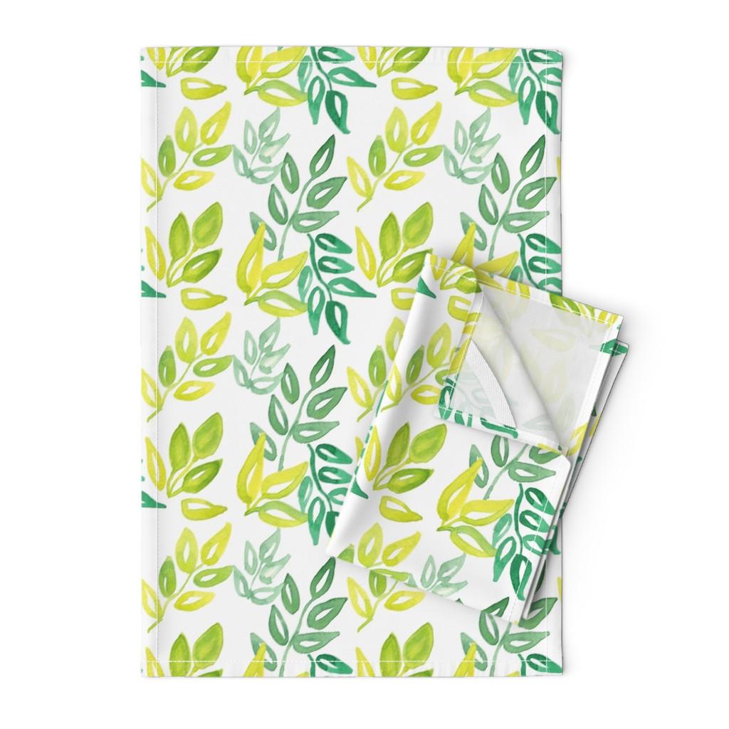 Orpington Tea Towels featuring Watercolor Leaves by ashandannstudio
