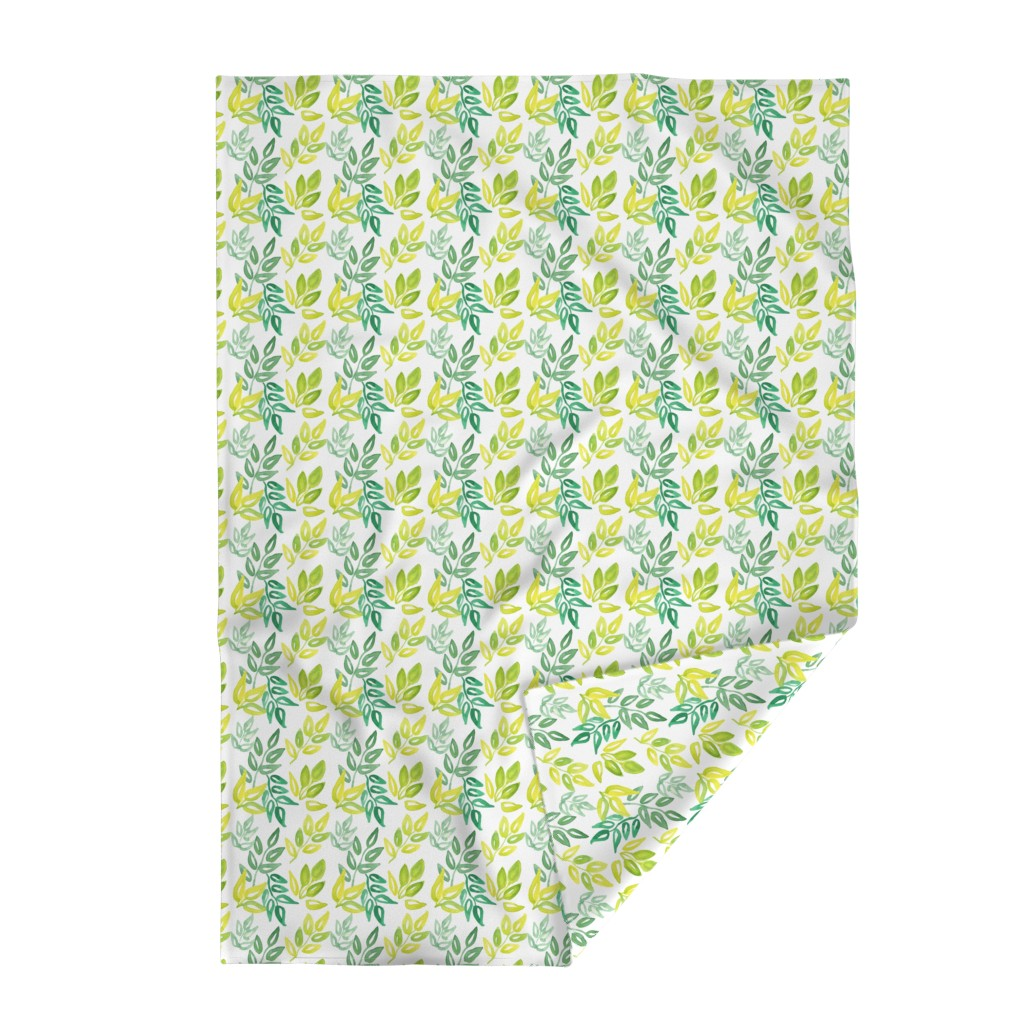 Lakenvelder Throw Blanket featuring Watercolor Leaves by ashandannstudio