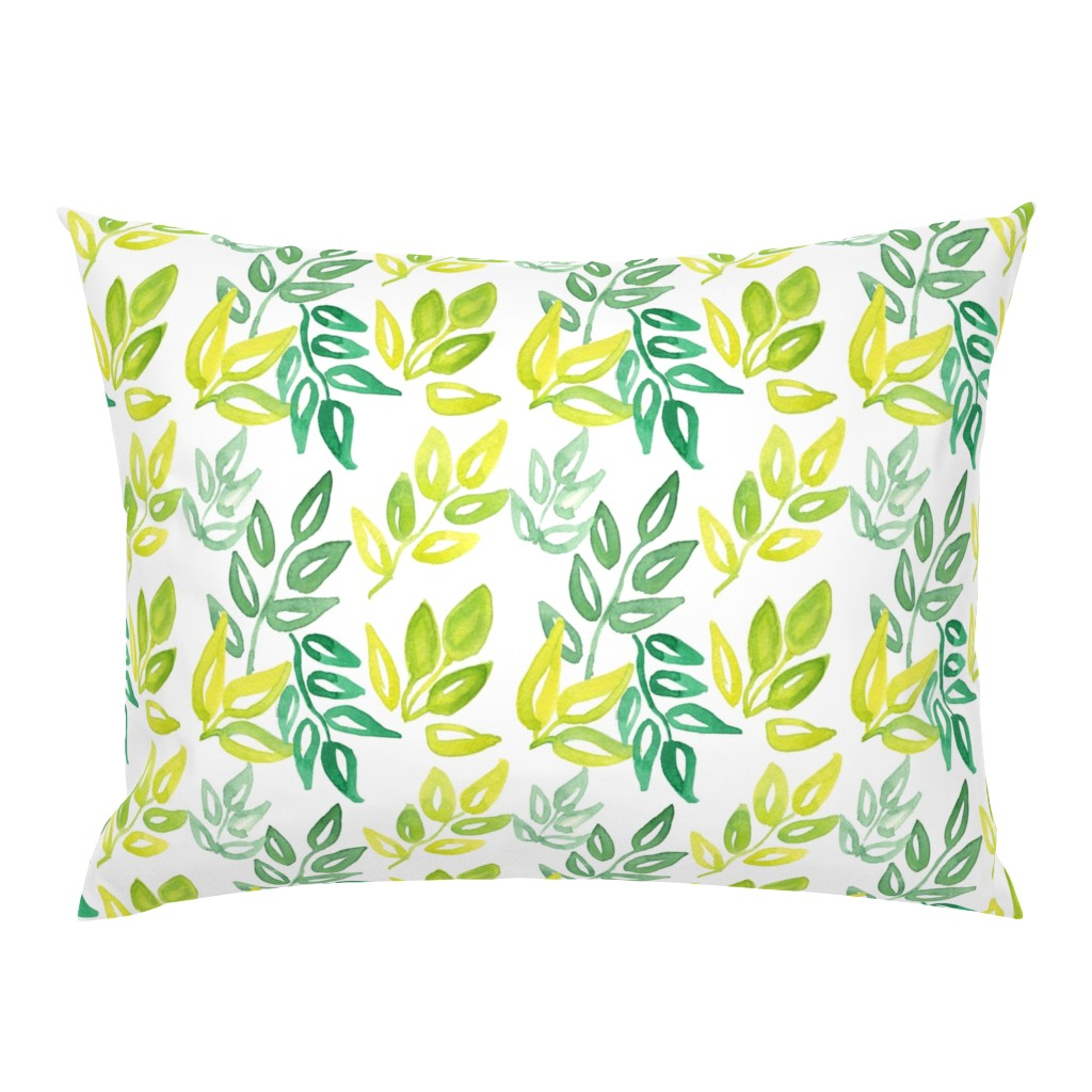 Campine Pillow Sham featuring Watercolor Leaves by ashandannstudio