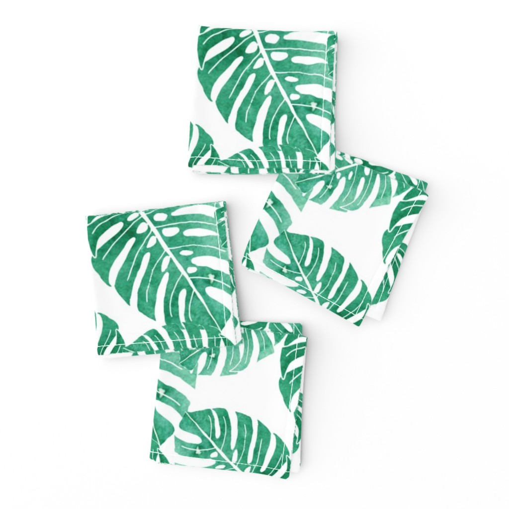 Frizzle Cocktail Napkins featuring Monstera Leaf  by ashandannstudio