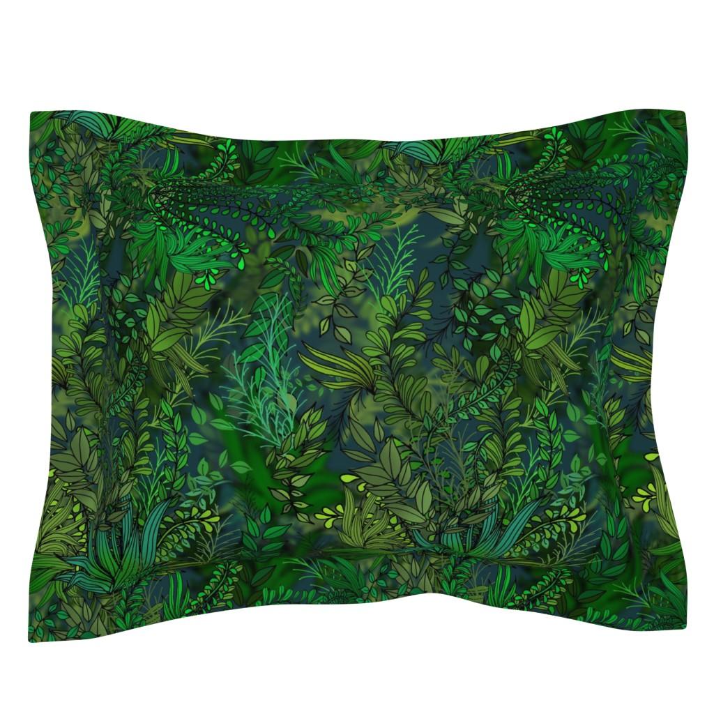 Sebright Pillow Sham featuring Botanical Green Water Garden by irishvikingdesigns