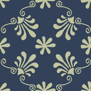Greek Mermaid - Navy, Green