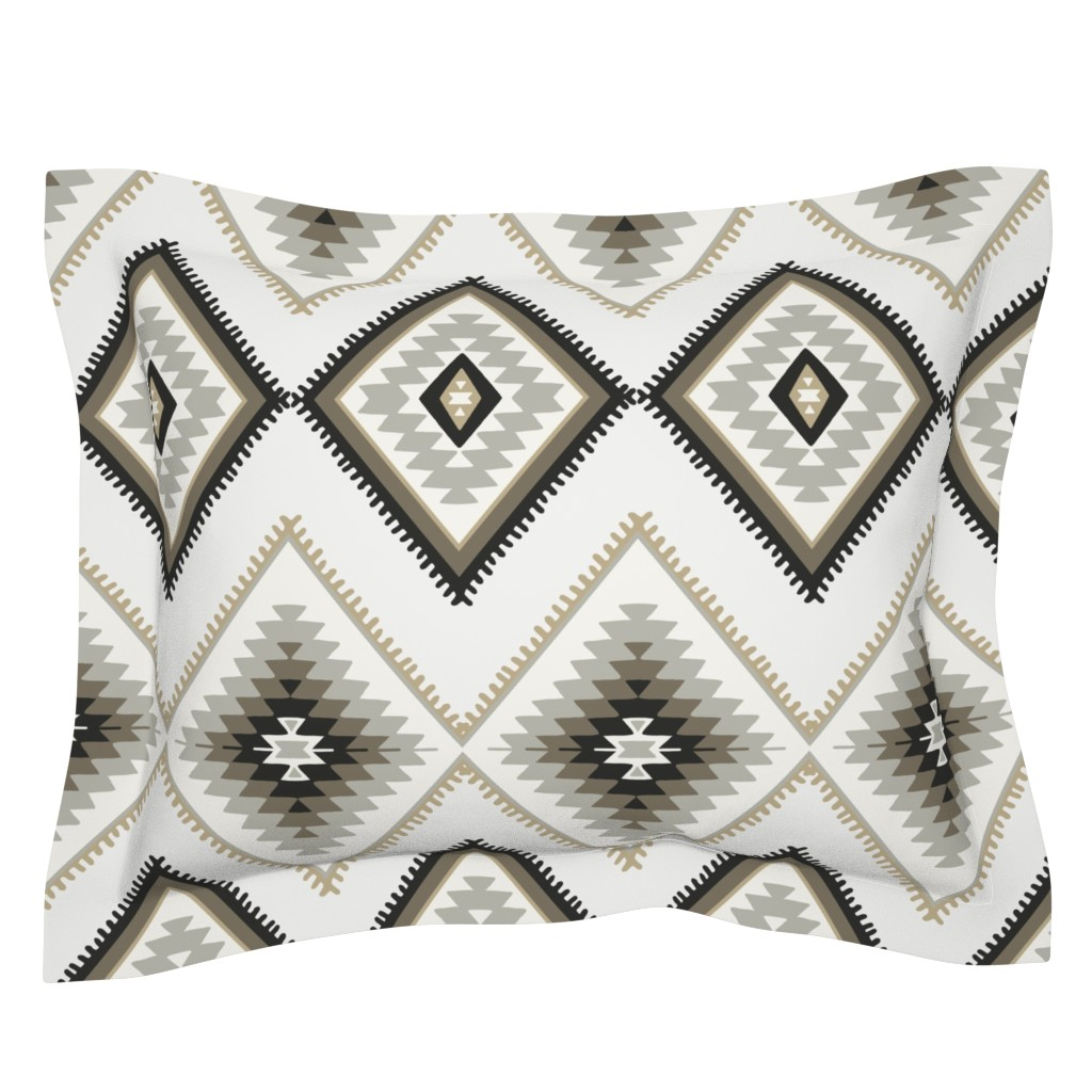 Sebright Pillow Sham featuring Brown and beige aztec southwestern by thekindredpines