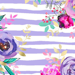 Bouquets Pattern on Lavender Stripes