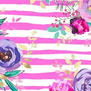 Bouquets Pattern on PINK Stripes