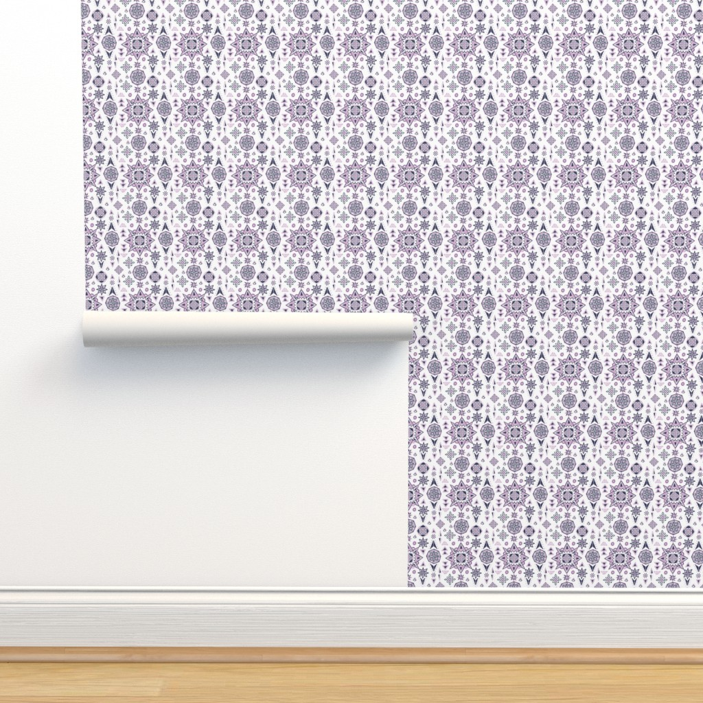 Isobar Durable Wallpaper featuring Orchid & Navy Stars Geometry by leiah