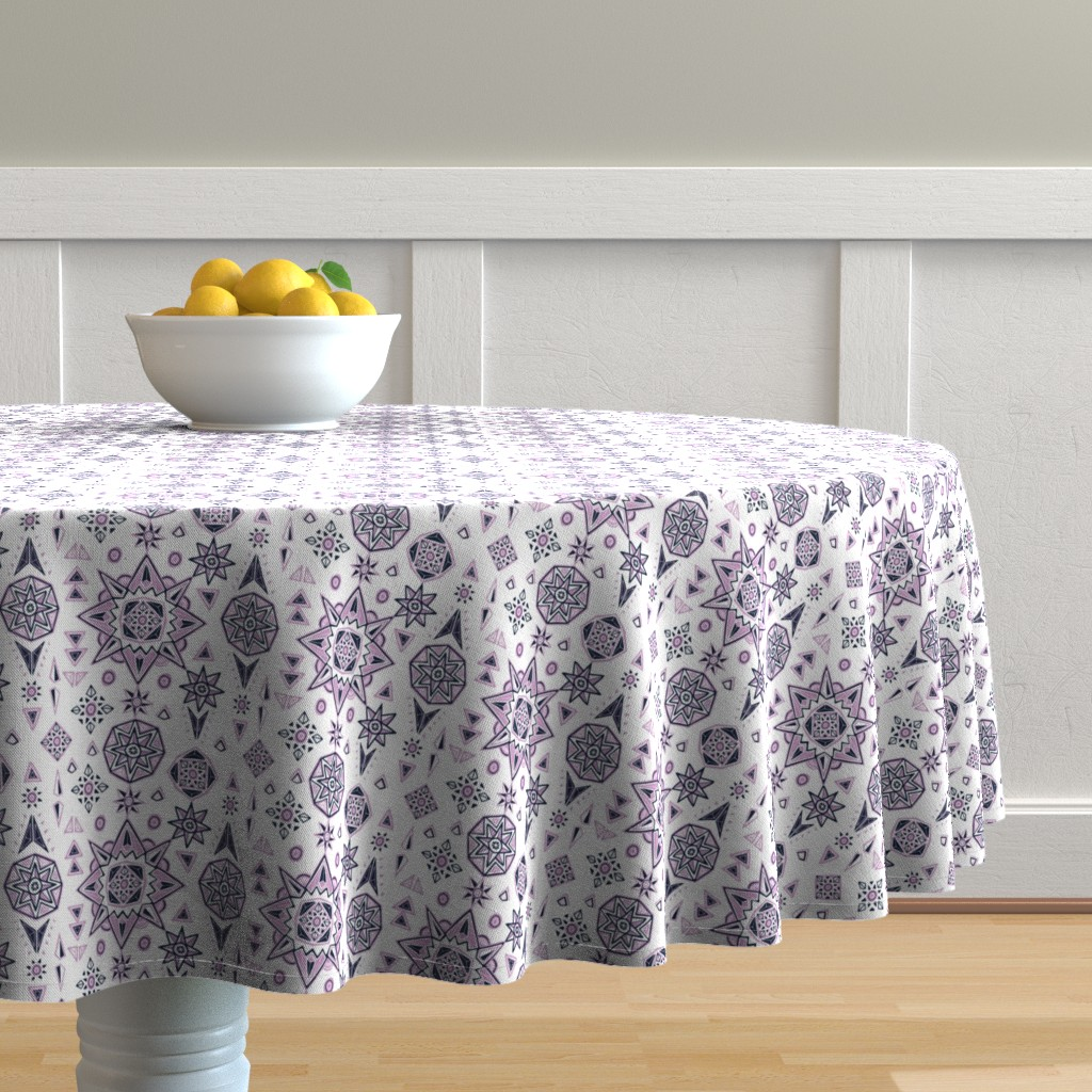 Malay Round Tablecloth featuring Orchid & Navy Stars Geometry by leiah
