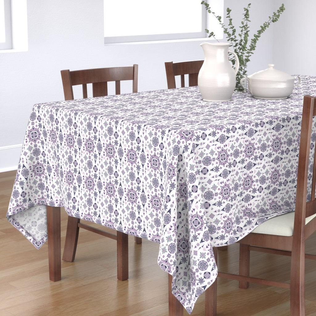Bantam Rectangular Tablecloth featuring Orchid & Navy Stars Geometry by leiah