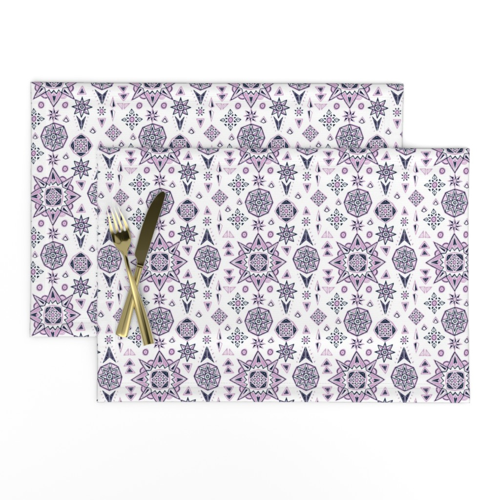 Lamona Cloth Placemats featuring Orchid & Navy Stars Geometry by leiah