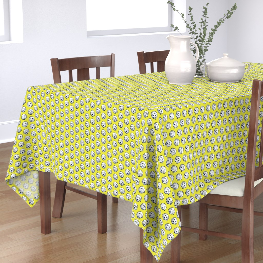 Bantam Rectangular Tablecloth featuring Mini Goldendoodle dogs on sunny yellow background by cheekyhodgepodge