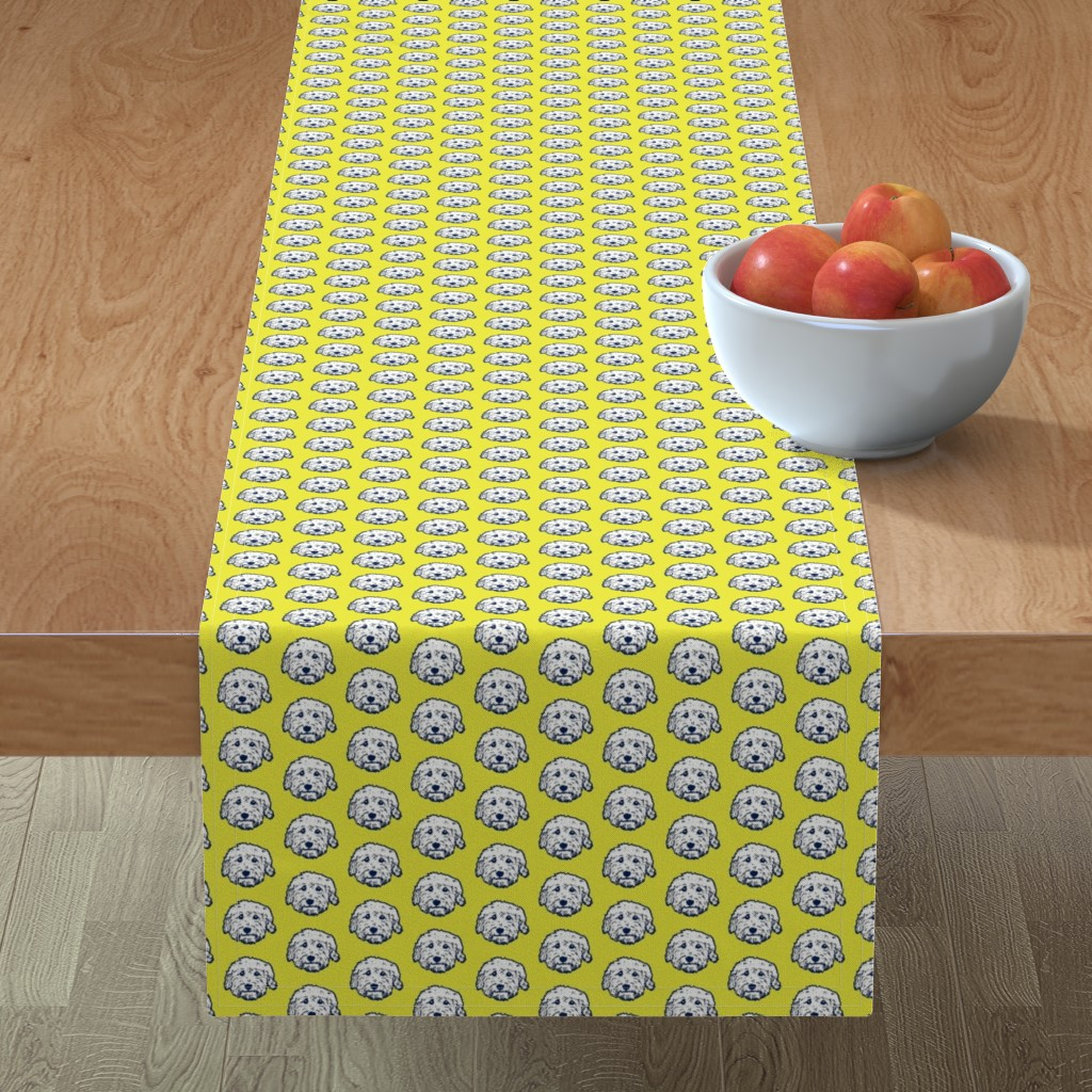 Minorca Table Runner featuring Mini Goldendoodle dogs on sunny yellow background by cheekyhodgepodge
