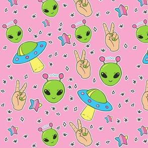 Kawaii Cute UFO Aliens on Pink