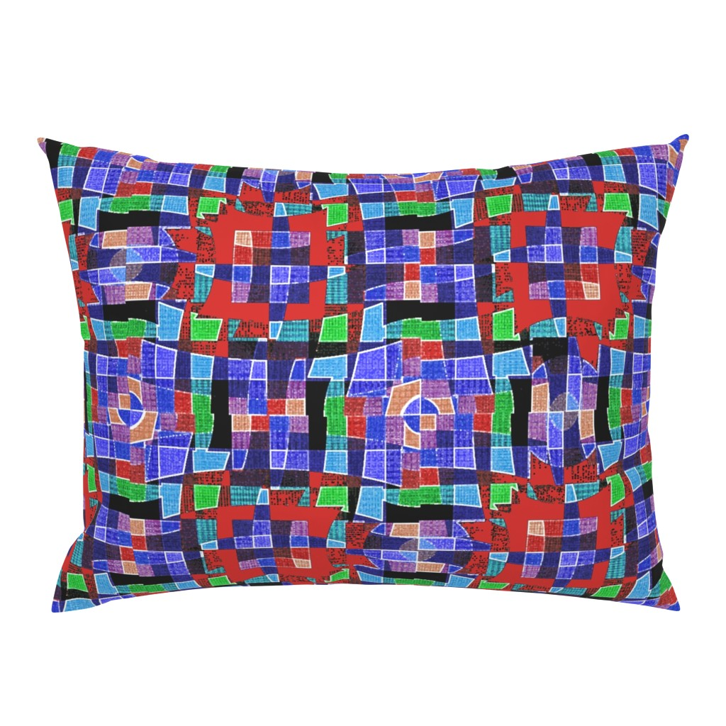 Campine Pillow Sham featuring Paper Plaid (Blue) by david_kent_collections