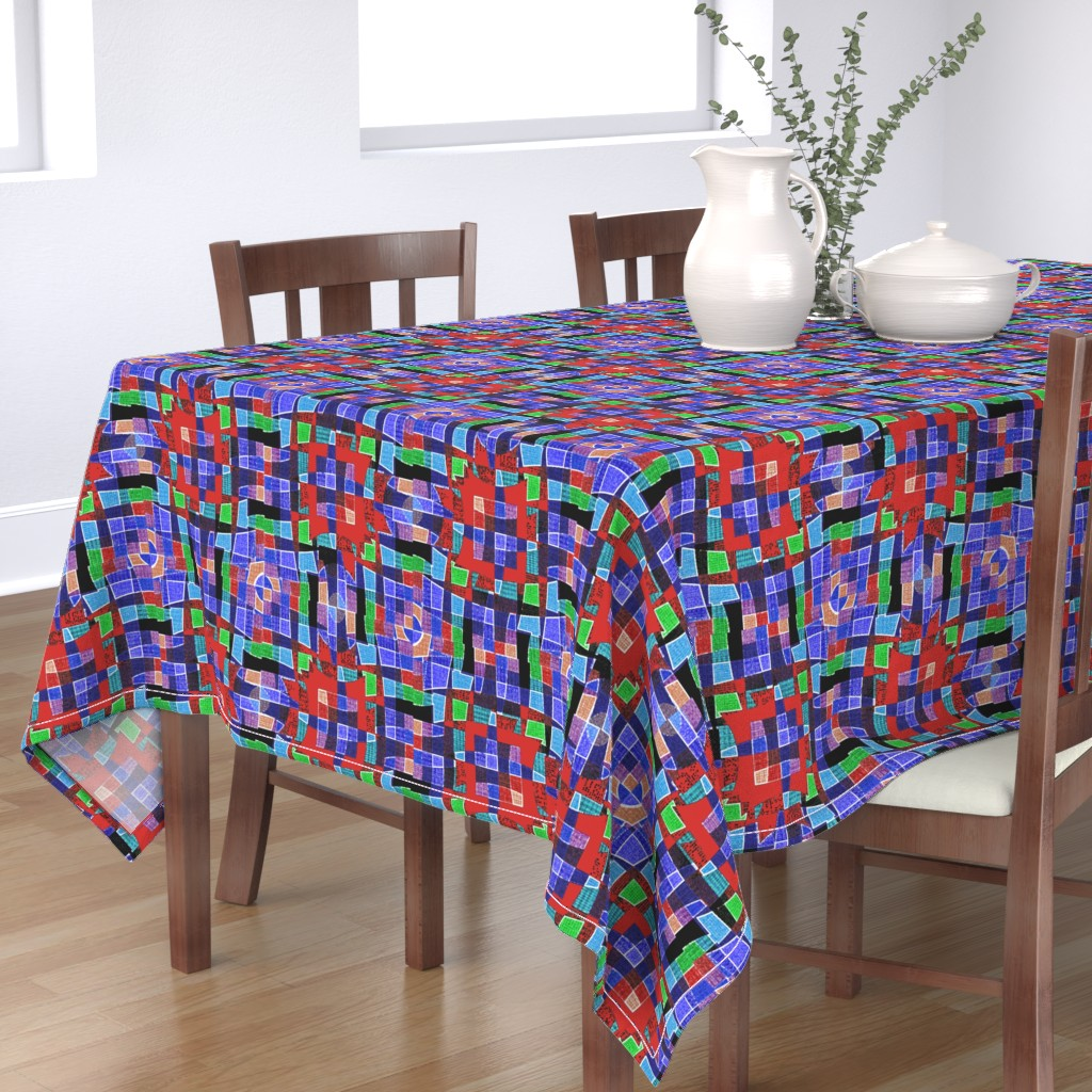 Bantam Rectangular Tablecloth featuring Paper Plaid (Blue) by david_kent_collections