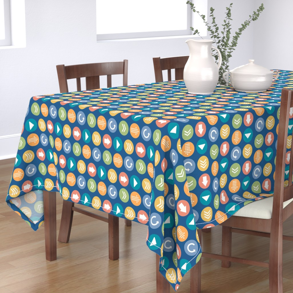 Bantam Rectangular Tablecloth featuring Comfy Circles Colorful Large by lisanorrisartworks