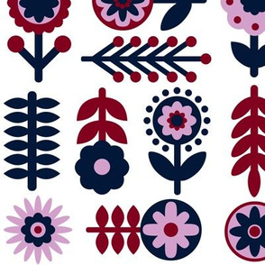 Orchid and Navy Scandinavian Flowers