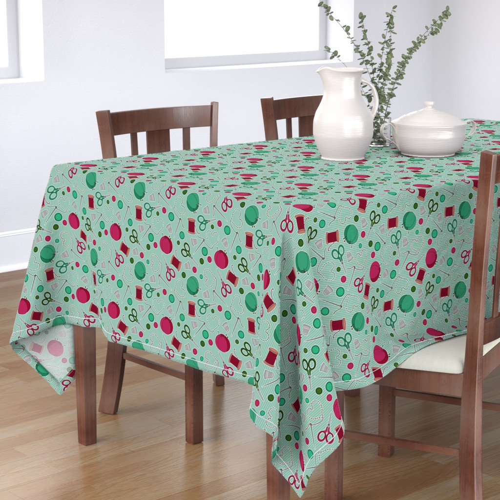 Bantam Rectangular Tablecloth featuring Cute Sewing Themed Pattern Green Background by jannasalak