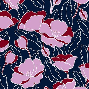 Field of Poppies/Orchid and Navy