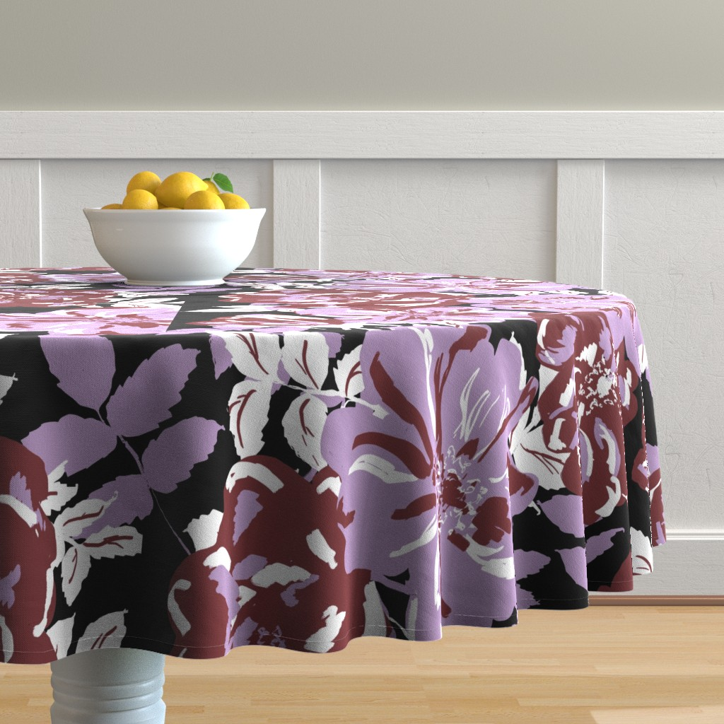 Malay Round Tablecloth featuring Wildroses by susanna_nousiainen