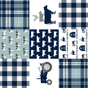 Farm life is the best life - Patchwork fabric - navy and dusty blue plaid farm fabric (90) C18BS